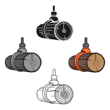 Hydraulic crane icon in cartoon,black style isolated on white background. Sawmill and timber symbol stock vector illustration.