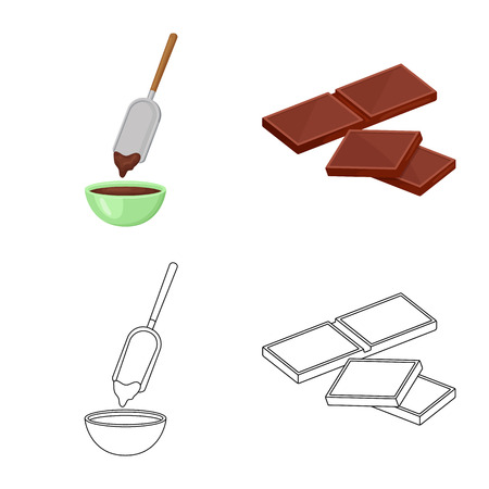 Isolated object of food and yummy logo. Collection of food and brown stock vector illustration.
