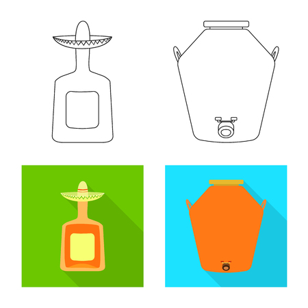Vector illustration of cafe and Latin sign. Collection of cafe and national stock symbol for web.