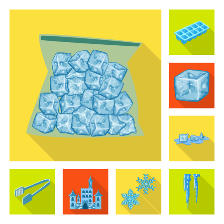 Isolated object of texture  and frozen  icon. Collection of texture  and transparent  vector icon for stock.  イラスト・ベクター素材