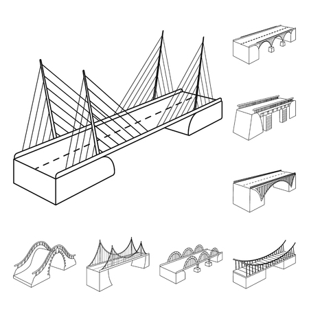 Vector illustration of landmark and structure. Collection of landmark and crossing stock symbol for web.