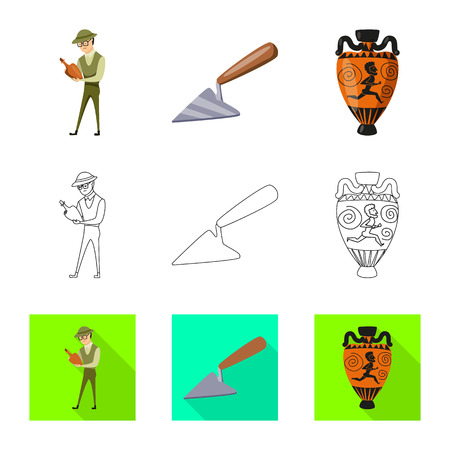 Vector design of story and items sign. Collection of story and attributes  stock vector illustration. Ilustração