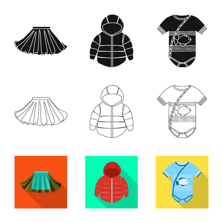 Isolated object of fashion and garment icon. Collection of fashion and cotton stock vector illustration. 일러스트
