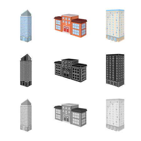 Vector illustration of construction and building icon. Set of construction and estate vector icon for stock.