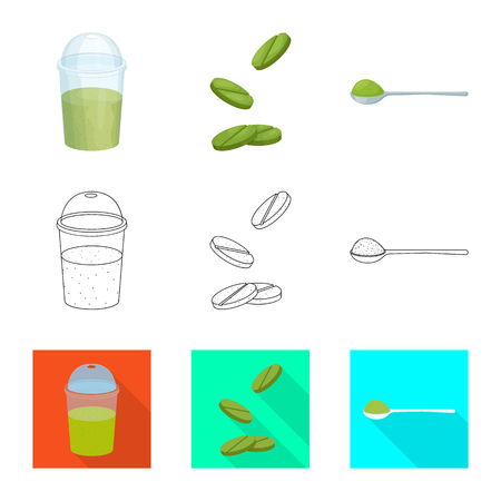 Isolated object of protein and sea sign. Set of protein and natural stock symbol for web. Illustration