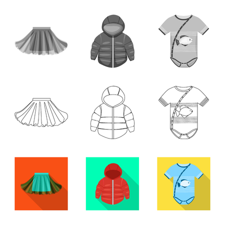 Vector illustration of fashion and garment icon. Set of fashion and cotton stock symbol for web. 일러스트