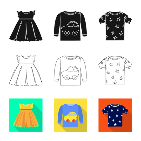 Isolated object of fashion and garment icon. Collection of fashion and cotton stock vector illustration. Illustration