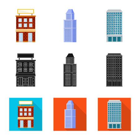Vector design of municipal and center icon. Collection of municipal and estate stock symbol for web. Vetores
