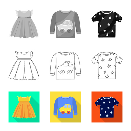 Vector illustration of fashion and garment icon. Set of fashion and cotton stock symbol for web. Illustration