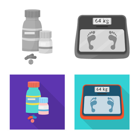 Vector illustration of diet and treatment  icon. Collection of diet and medicine stock symbol for web.