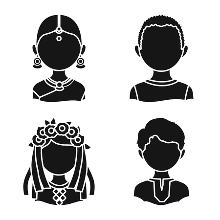 Vector design of person and culture icon. Set of person and race stock symbol for web.