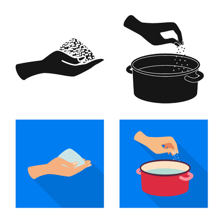 Vector illustration of cooking and sea sign. Set of cooking and baking   stock vector illustration. Ilustração