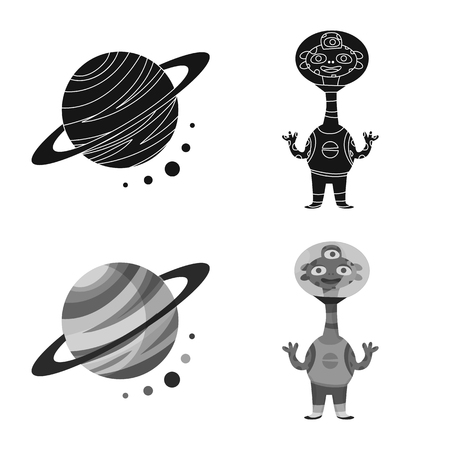Vector design of astronomy and technology icon. Set of astronomy and sky stock vector illustration.