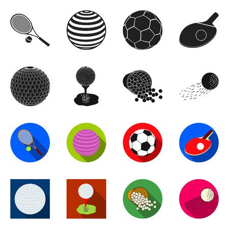 Disegno vettoriale di segno di palla e calcio. Insieme di simbolo di borsa palla e basket per il web. Vettoriali