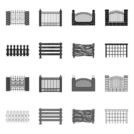 Objeto aislado del logotipo de la puerta y la cerca. Colección de ilustración vectorial de stock de puerta y pared.