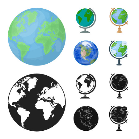 Vector illustration of globe and world sign. Set of globe and earth stock vector illustration.