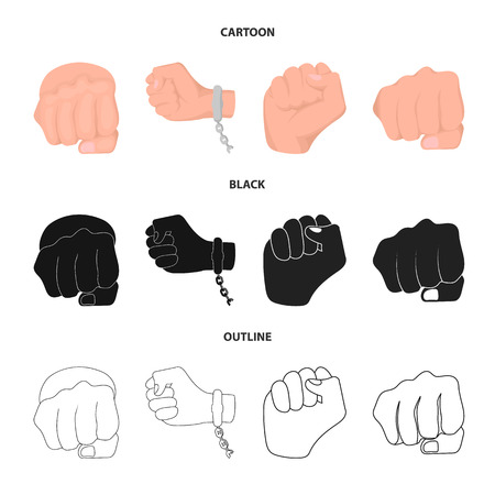 Isolated object of fist and punch logo. Collection of fist and hand vector icon for stock.