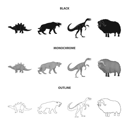 Isolated object of animal and character logo. Set of animal and ancient  stock symbol for web. 일러스트