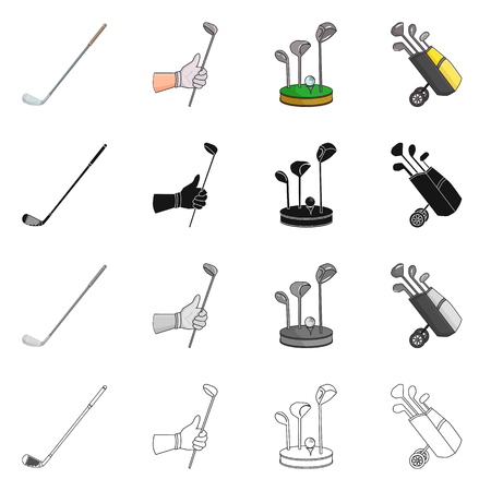 Vector design of  and stick sign. Collection of  and golf  stock symbol for web.