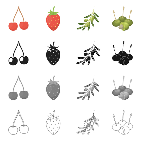 Vector design of berry and fruit logo. Collection of berry and redberry  stock vector illustration. Vettoriali