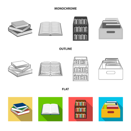 Vector illustration of library and textbook symbol. Set of library and school vector icon for stock.