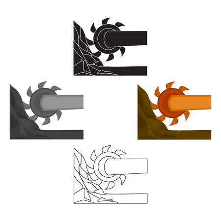 Large cutting wheel. Machine for extraction of minerals.Mine Industry single icon in cartoon,black style vector symbol stock illustration.