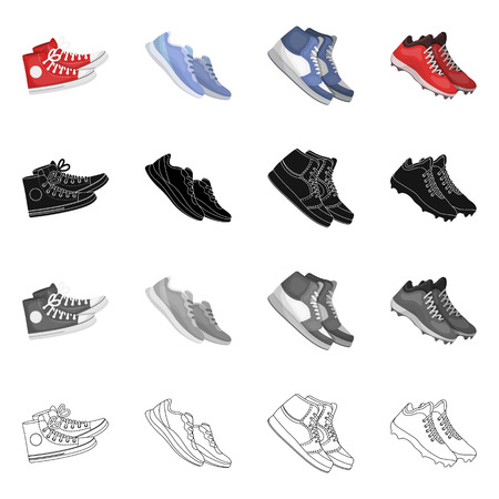 Vector design of shoe and sport symbol. Set of shoe and fitness vector icon for stock.