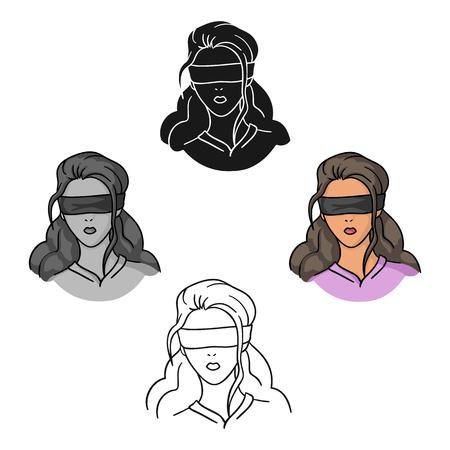 Icône d'otage en dessin animé, style noir isolé sur fond blanc. Symbole du crime illustration vectorielle stock.