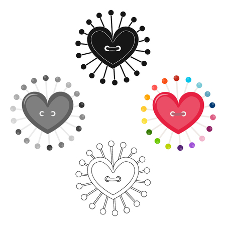 Pad with sewing pins. Sewing and equipment single icon in cartoon,black style vector symbol stock illustration web.