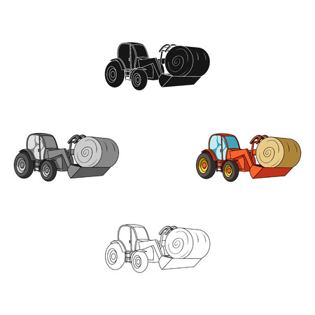 Orange tractor with a ladle transporting hay bale. Agricultural vehicles.Agricultural Machinery single icon in cartoon,black style vector symbol stock illustration.