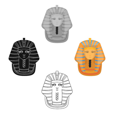 Pharaoh s golden mask icon in cartoon,black style isolated on white background. Ancient Egypt symbol stock vector illustration.