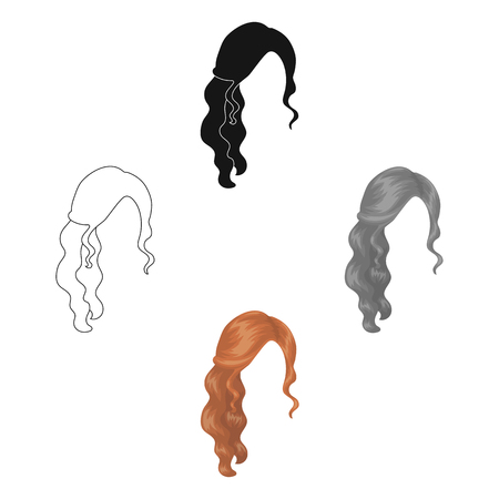 Red wavy.Back hairstyle single icon in cartoon,black style vector symbol stock illustration web.