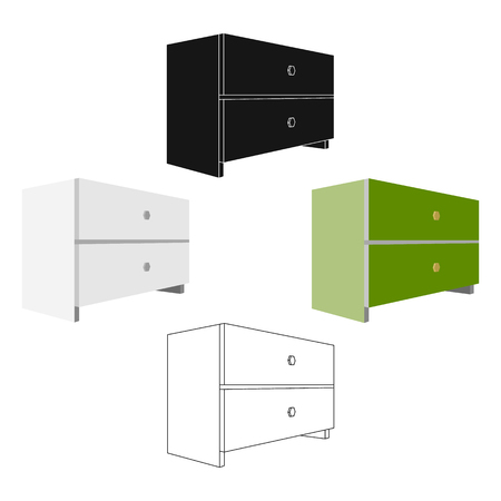 White bedside table with two drawers.Room accessories for all sorts of things.Bedroom furniture single icon in cartoon,black style vector symbol stock illustration.
