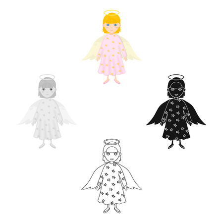 Guardian angel single icon in cartoon,black,black,flat,monochrome style for design. Christmas vector symbol stock illustration web. Stock Illustratie