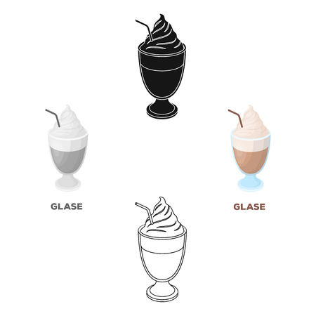 iced coffee.Different types of coffee single icon in cartoon,black style vector symbol stock illustration web.