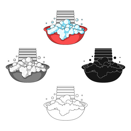 Bowl for washing. Dry cleaning single icon in cartoon,black style vector symbol stock illustration web.