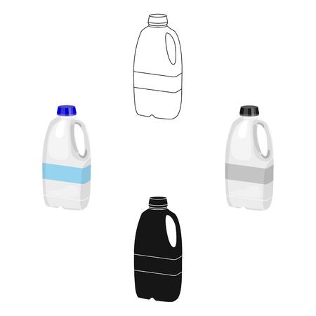 Icono de botella de leche de plástico de galón en estilo de dibujos animados aislado sobre fondo blanco. Ilustración de vector de stock de símbolo de producto lácteo y dulce.