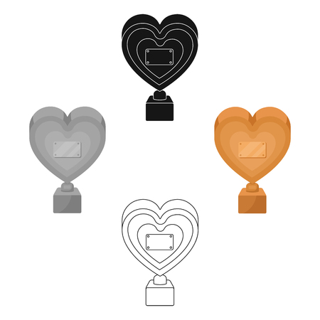 Bronze heart in the form of awards.The audience award for best film. Movie awards single icon in cartoon,black style vector symbol stock illustration.