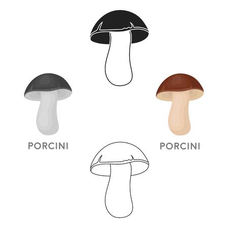 Porcini icon in cartoon,black style isolated on white background. Mushroom symbol stock vector illustration.