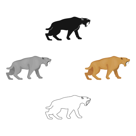 Saber-toothed tiger icon in cartoon,black style isolated on white background. Stone age symbol stock vector illustration.