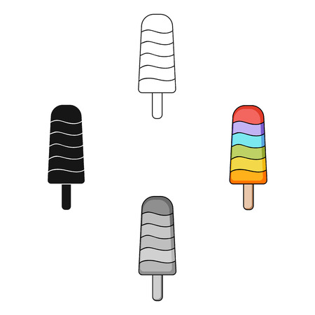 Ice lolly icon in cartoon,black style isolated on white background. Ice cream symbol stock vector illustration.