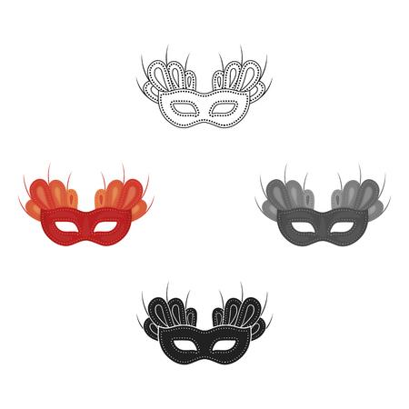 Mask icon in cartoon,black style isolated on white background. Theater symbol stock vector illustration Illustration