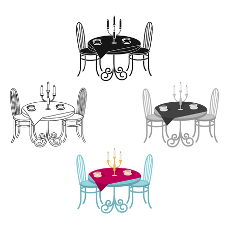 Served table in the restaurant. Furniture single icon in cartoon,black style Isometric vector symbol stock illustration web.