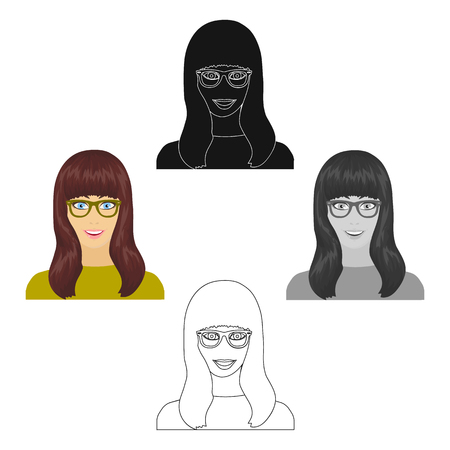 The girl s face is wearing glasses. Face and appearance single icon in cartoon,black style vector symbol stock illustration web. 矢量图像