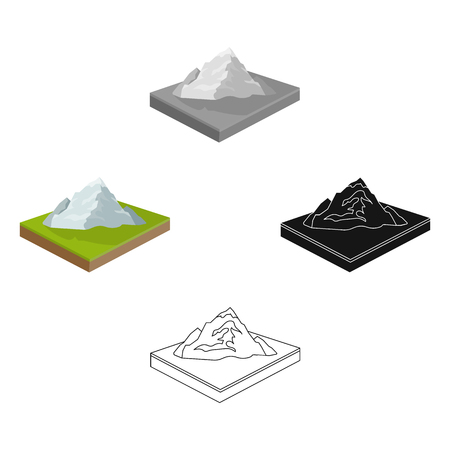 Mountains, rocks and landscape. Relief and mountains single icon in cartoon,black style isometric vector symbol stock illustration web. Illustration