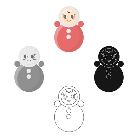 Roly Poly cartoon,black icon. Illustration for web and mobile design.