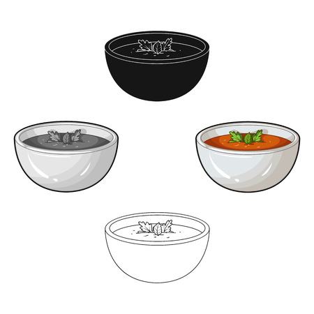 Porcelain tureen with the soup.Vegetarian soup-puree of pumpkin.Vegetarian Dishes single icon in cartoon,black style vector symbol stock illustration. Illustration