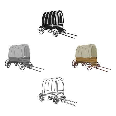 Cowboy wagon icon cartoon,black. Singe western icon from the wild west cartoon,black.