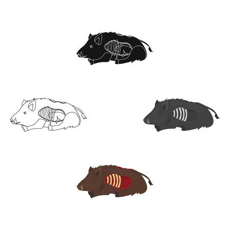 Boar single icon in cartoon,black style.Boar, vector symbol stock illustration web.