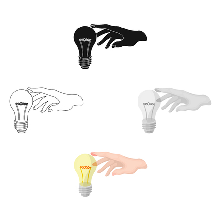 Replacement of an electric bulb. Incandescent lamp single icon in cartoon,black style vector symbol stock illustration web.